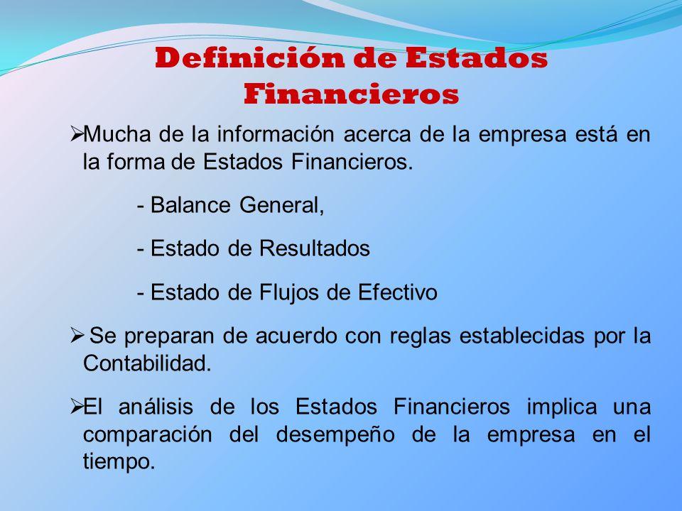 Definición de Estados Financieros Mucha de la información acerca de la empresa está en la forma de Estados Financieros. - Balance General, - Estado de