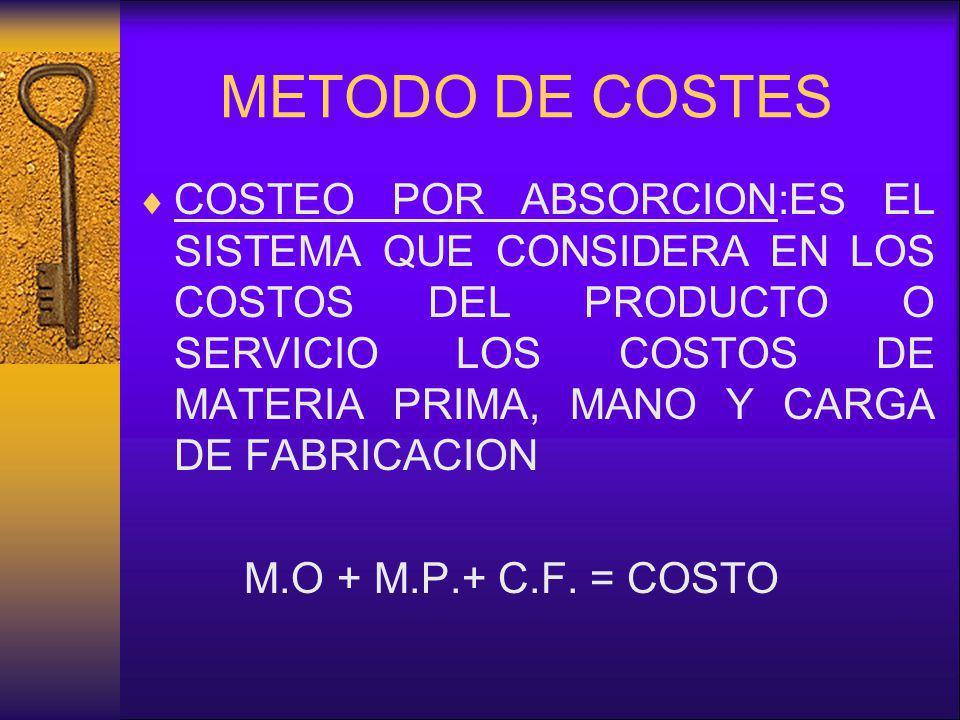 METODO DE COSTES COSTEO POR ABSORCION:ES EL SISTEMA QUE CONSIDERA EN LOS COSTOS DEL PRODUCTO O SERVICIO LOS COSTOS DE MATERIA PRIMA, MANO Y CARGA DE F
