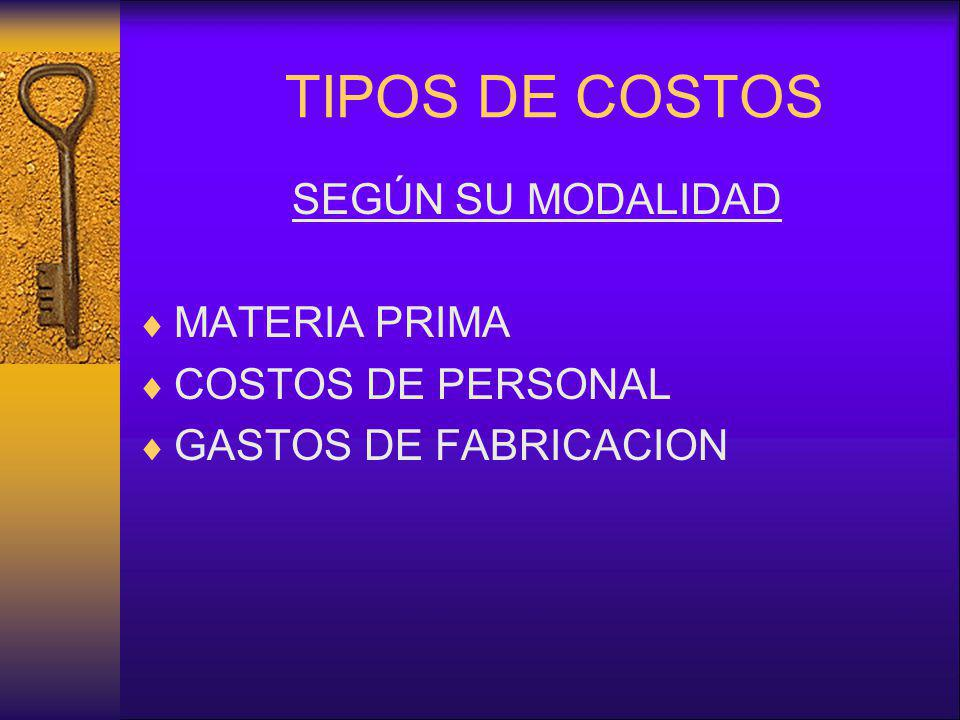 TIPOS DE COSTOS SEGÚN SU MODALIDAD MATERIA PRIMA COSTOS DE PERSONAL GASTOS DE FABRICACION