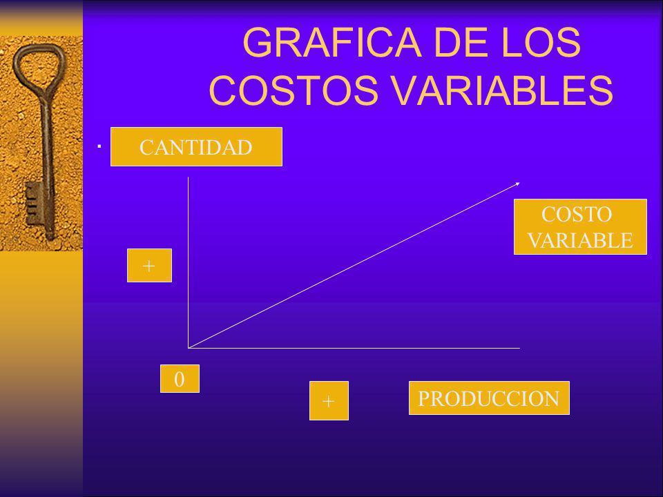 GRAFICA DE LOS COSTOS VARIABLES. PRODUCCION CANTIDAD 0 + + COSTO VARIABLE