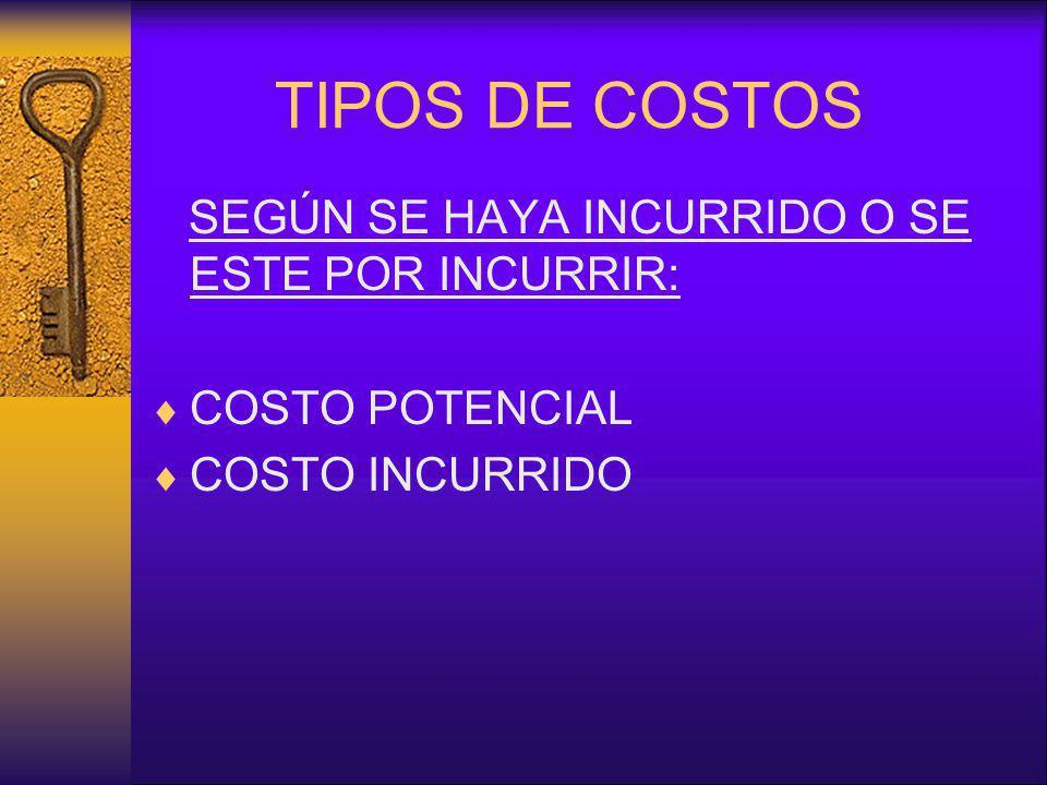 TIPOS DE COSTOS SEGÚN SE HAYA INCURRIDO O SE ESTE POR INCURRIR: COSTO POTENCIAL COSTO INCURRIDO