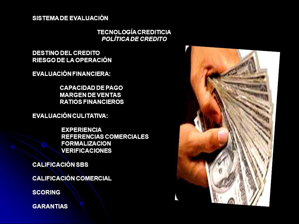 SISTEMA DE EVALUACIÓN TECNOLOGÍA CREDITICIA POLÍTICA DE CREDITO DESTINO DEL CREDITO RIESGO DE LA OPERACIÓN EVALUACIÓN FINANCIERA: CAPACIDAD DE PAGO MARGEN DE VENTAS RATIOS FINANCIEROS EVALUACIÓN CULITATIVA: EXPERIENCIA REFERENCIAS COMERCIALES FORMALIZACION VERIFICACIONES CALIFICACIÓN SBS CALIFICACIÓN COMERCIAL SCORING GARANTIAS