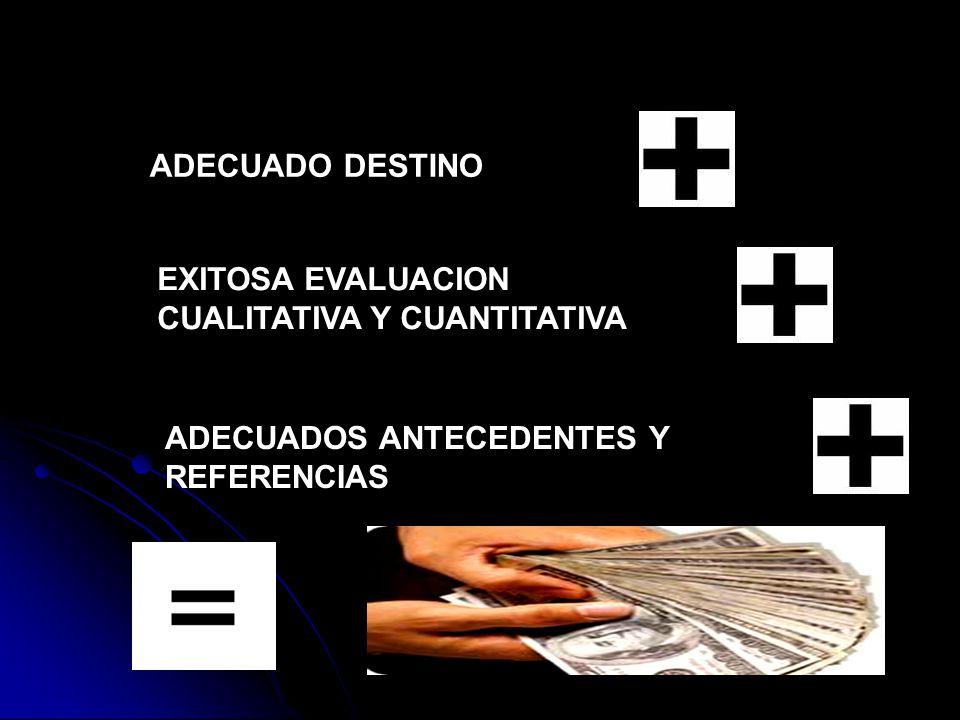 ADECUADO DESTINO EXITOSA EVALUACION CUALITATIVA Y CUANTITATIVA ADECUADOS ANTECEDENTES Y REFERENCIAS