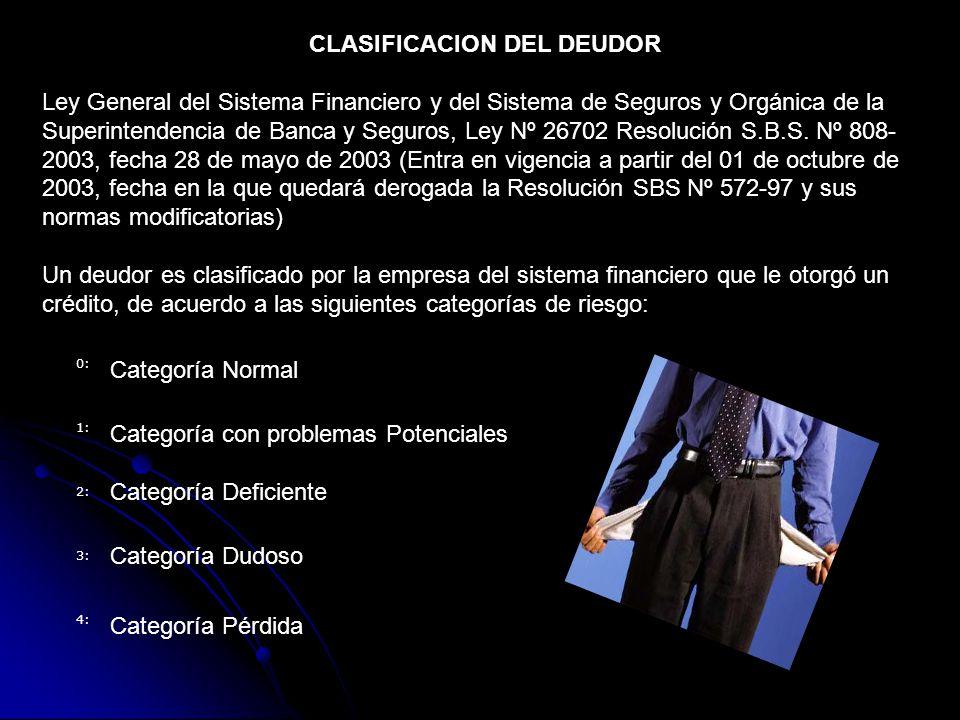 CLASIFICACION DEL DEUDOR Ley General del Sistema Financiero y del Sistema de Seguros y Orgánica de la Superintendencia de Banca y Seguros, Ley Nº 26702 Resolución S.B.S.