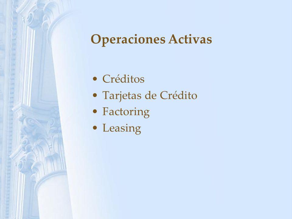 Operaciones Activas Créditos Tarjetas de Crédito Factoring Leasing