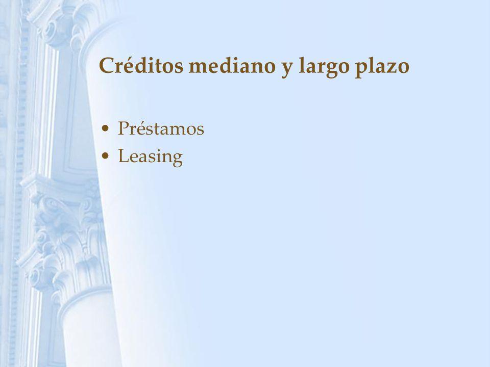 Créditos mediano y largo plazo Préstamos Leasing