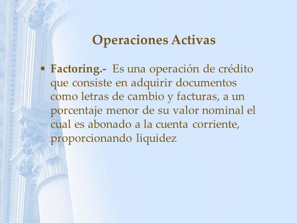 Operaciones Activas Factoring.- Es una operación de crédito que consiste en adquirir documentos como letras de cambio y facturas, a un porcentaje meno
