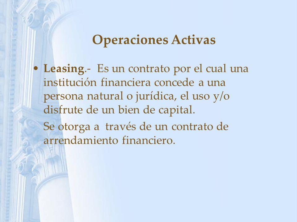 Operaciones Activas Leasing.- Es un contrato por el cual una institución financiera concede a una persona natural o jurídica, el uso y/o disfrute de u