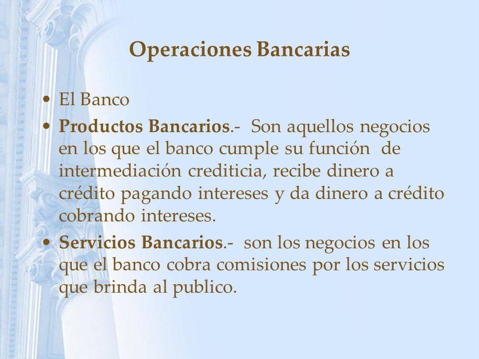 Operaciones Bancarias El Banco Productos Bancarios.- Son aquellos negocios en los que el banco cumple su función de intermediación crediticia, recibe