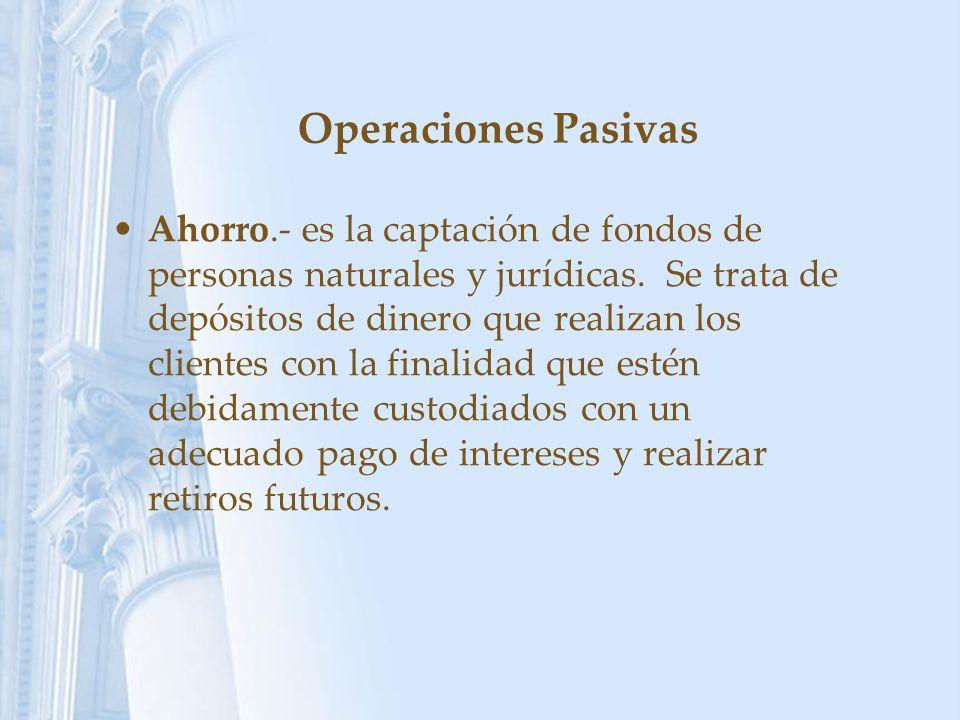 Operaciones Pasivas Ahorro.- es la captación de fondos de personas naturales y jurídicas. Se trata de depósitos de dinero que realizan los clientes co