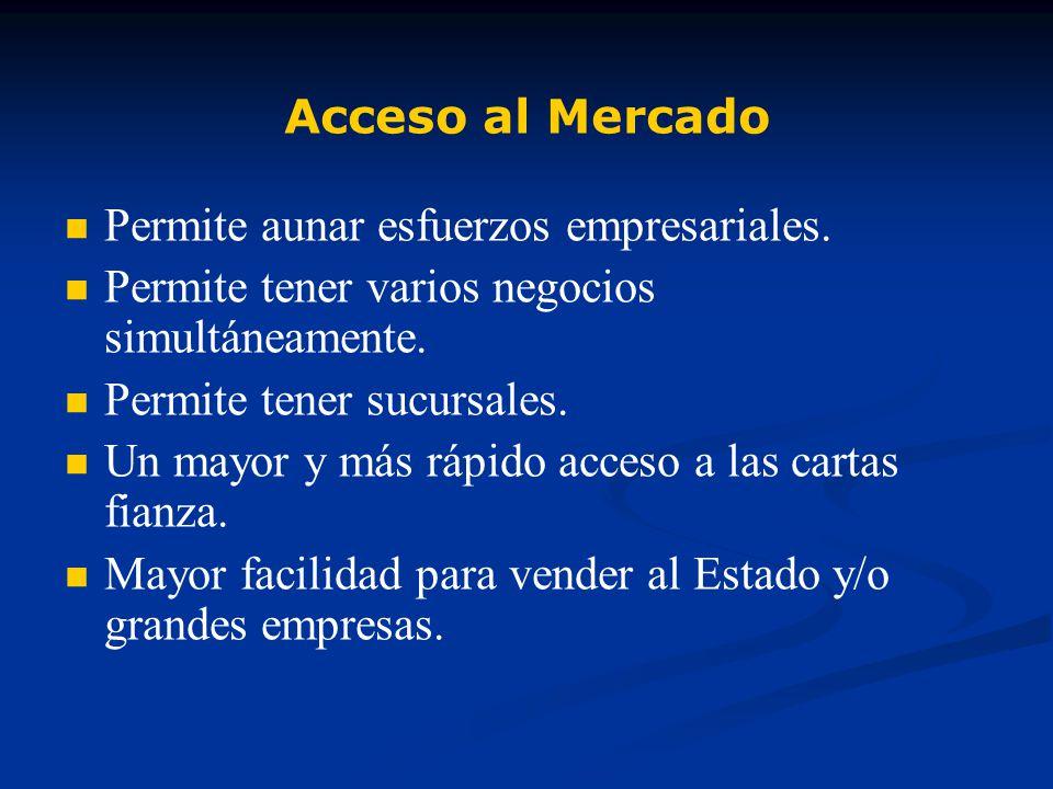 Acceso al Mercado Permite aunar esfuerzos empresariales.