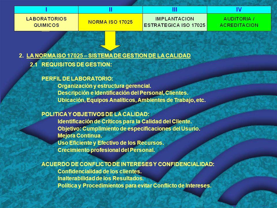 2. LA NORMA ISO 17025 – SISTEMA DE GESTION DE LA CALIDAD 2.1 REQUISITOS DE GESTION: PERFIL DE LABORATORIO: Organización y estructura gerencial. Descri