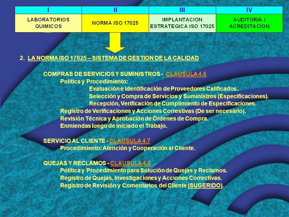 2. LA NORMA ISO 17025 – SISTEMA DE GESTION DE LA CALIDAD COMPRAS DE SERVICIOS Y SUMINISTROS - CLAUSULA 4.6 Política y Procedimiento: Evaluación e Iden