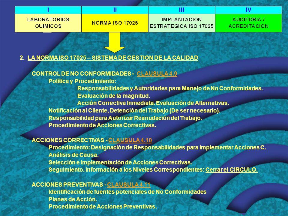 2. LA NORMA ISO 17025 – SISTEMA DE GESTION DE LA CALIDAD CONTROL DE NO CONFORMIDADES - CLAUSULA 4.9 Política y Procedimiento: Responsabilidades y Auto