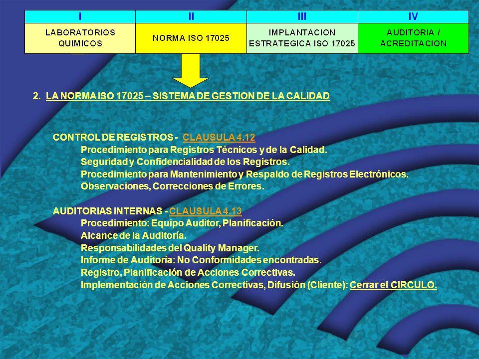 2. LA NORMA ISO 17025 – SISTEMA DE GESTION DE LA CALIDAD CONTROL DE REGISTROS - CLAUSULA 4.12 Procedimiento para Registros Técnicos y de la Calidad. S