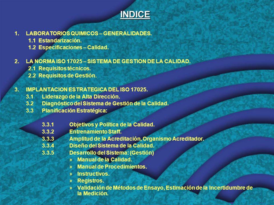 INDICE 1.LABORATORIOS QUIMICOS – GENERALIDADES.1.1Estandarización.
