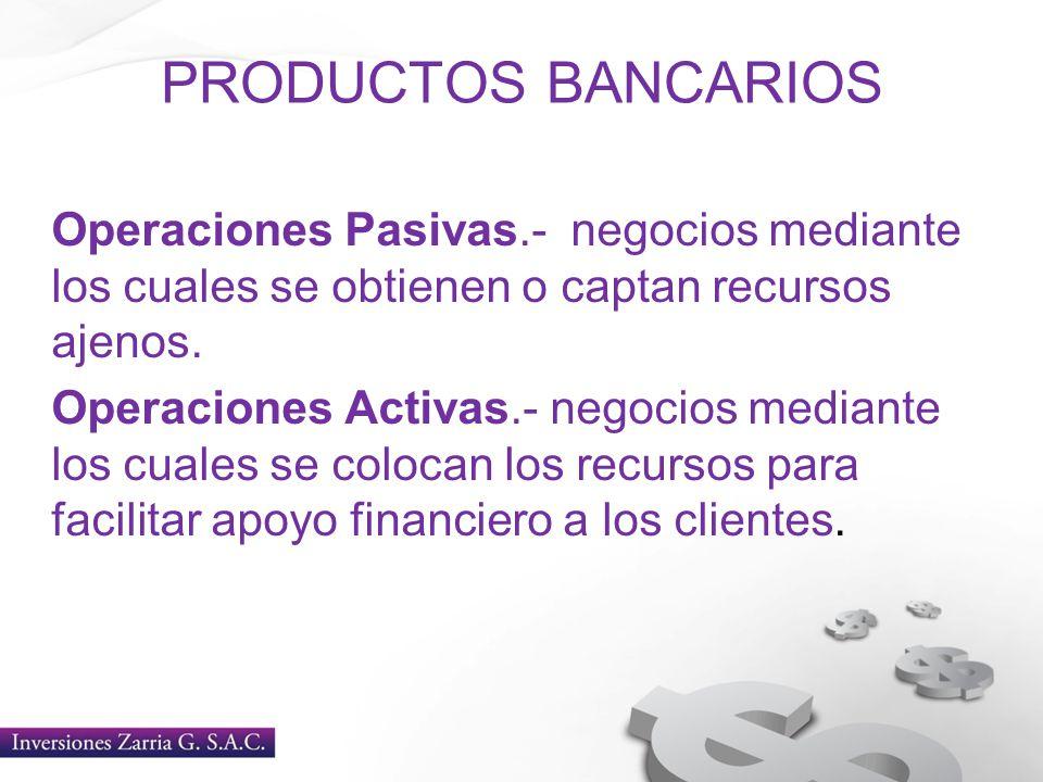 PRODUCTOS BANCARIOS Operaciones Pasivas.- negocios mediante los cuales se obtienen o captan recursos ajenos. Operaciones Activas.- negocios mediante l