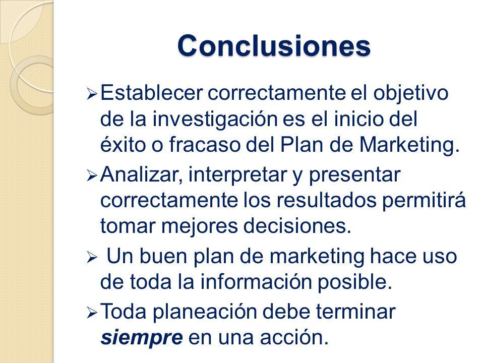 Conclusiones Establecer correctamente el objetivo de la investigación es el inicio del éxito o fracaso del Plan de Marketing. Analizar, interpretar y