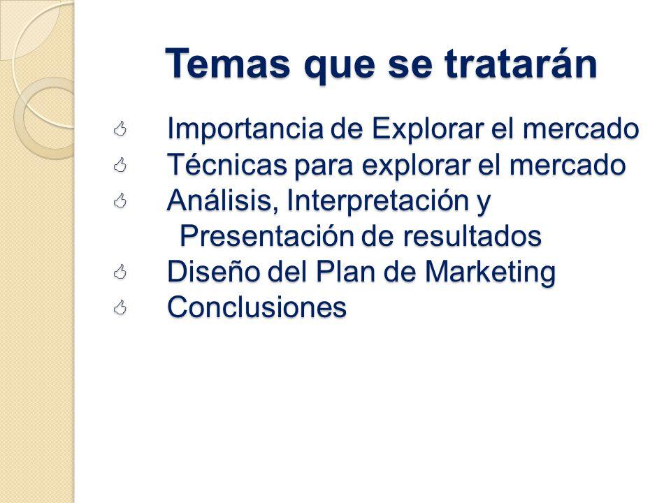Temas que se tratarán Importancia de Explorar el mercado Importancia de Explorar el mercado Técnicas para explorar el mercado Técnicas para explorar e