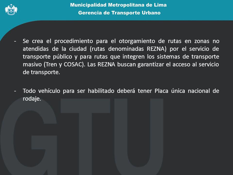 -Se crea el procedimiento para el otorgamiento de rutas en zonas no atendidas de la ciudad (rutas denominadas REZNA) por el servicio de transporte público y para rutas que integren los sistemas de transporte masivo (Tren y COSAC).