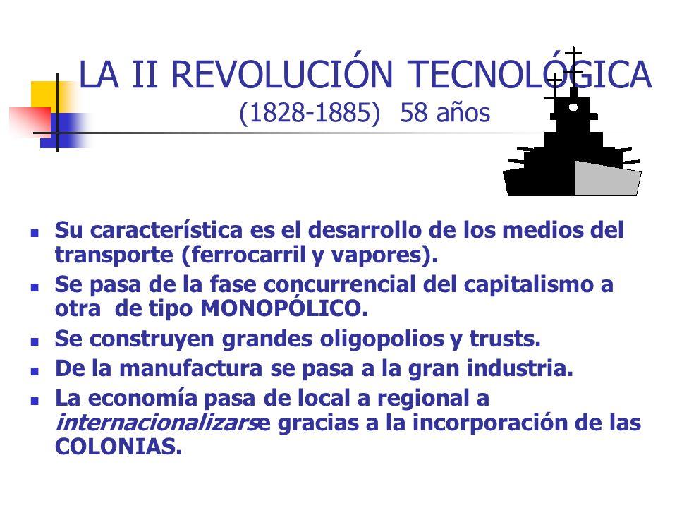 LA II REVOLUCIÓN TECNOLÓGICA (1828-1885) 58 años Su característica es el desarrollo de los medios del transporte (ferrocarril y vapores). Se pasa de l