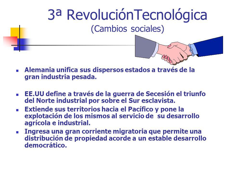 3ª RevoluciónTecnológica (Cambios sociales) Alemania unifica sus dispersos estados a través de la gran industria pesada. EE.UU define a través de la g