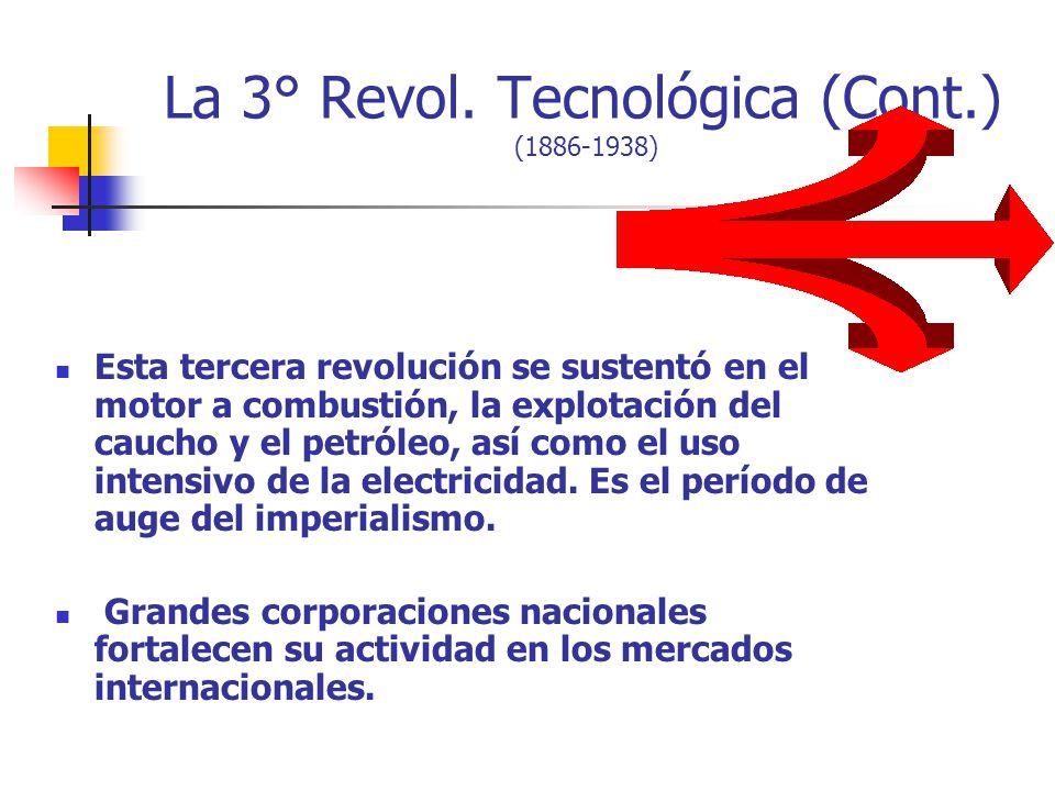 La 3° Revol. Tecnológica (Cont.) (1886-1938) Esta tercera revolución se sustentó en el motor a combustión, la explotación del caucho y el petróleo, as