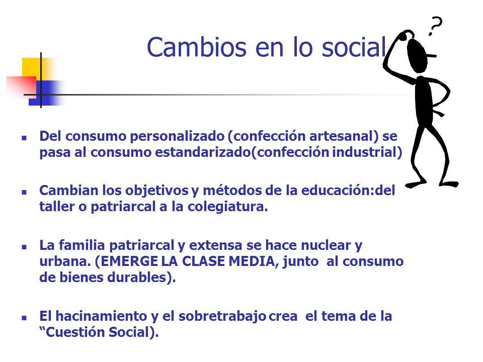 Cambios en lo social Del consumo personalizado (confección artesanal) se pasa al consumo estandarizado(confección industrial) Cambian los objetivos y