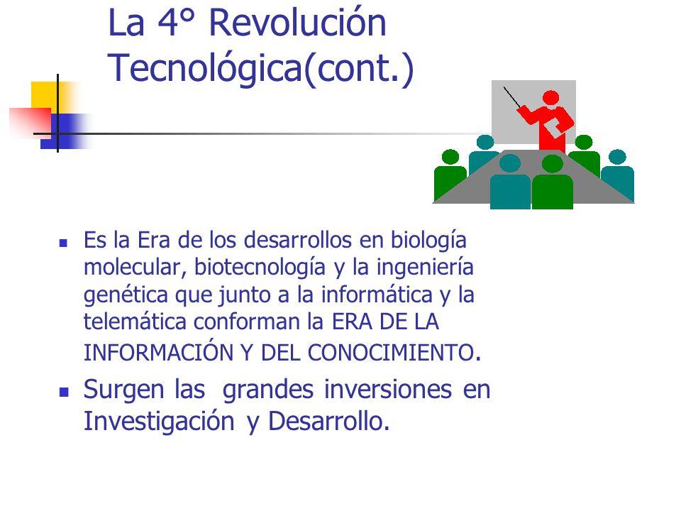 La 4° Revolución Tecnológica(cont.) Es la Era de los desarrollos en biología molecular, biotecnología y la ingeniería genética que junto a la informát