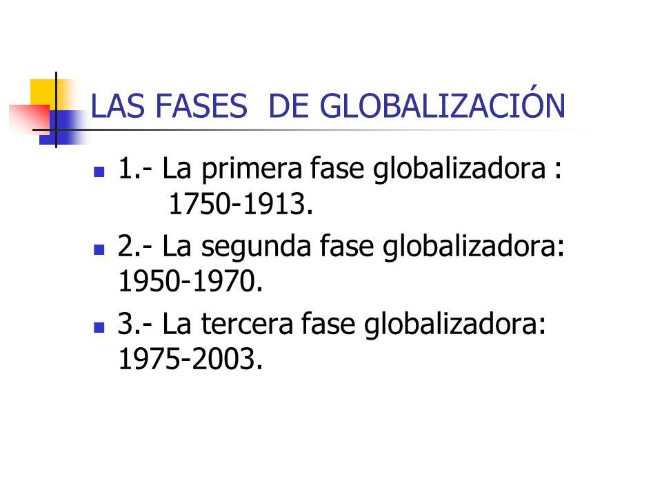 LAS FASES DE GLOBALIZACIÓN 1.- La primera fase globalizadora : 1750-1913. 2.- La segunda fase globalizadora: 1950-1970. 3.- La tercera fase globalizad