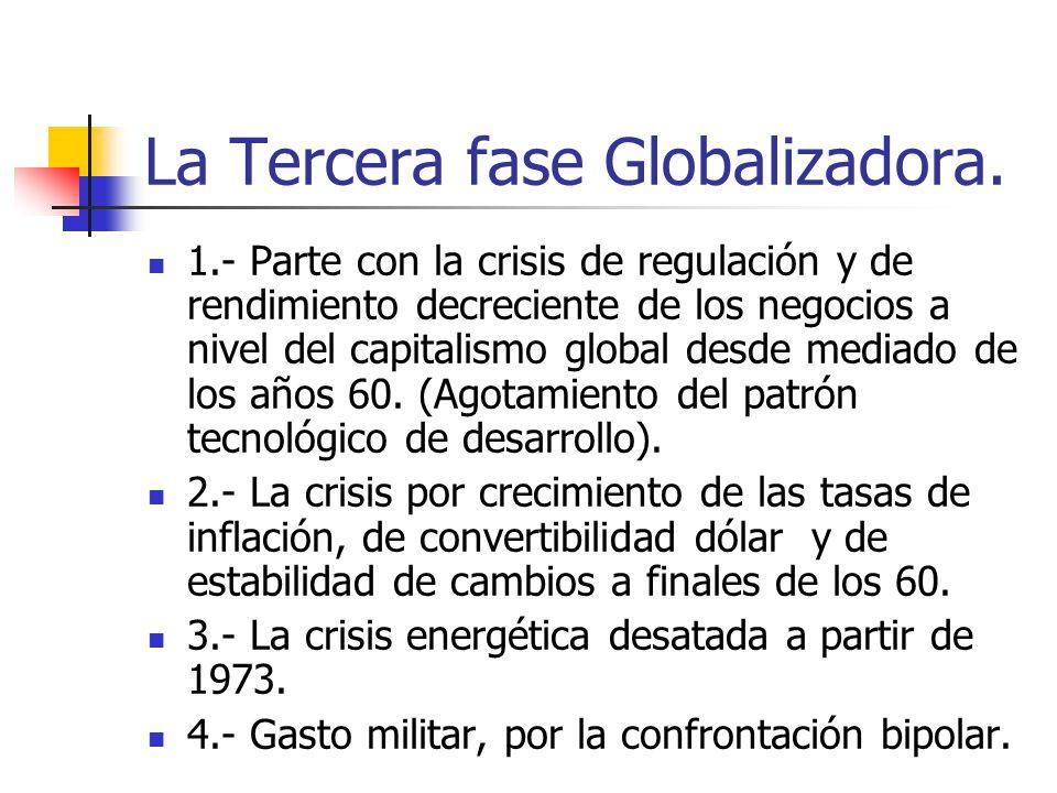 La Tercera fase Globalizadora. 1.- Parte con la crisis de regulación y de rendimiento decreciente de los negocios a nivel del capitalismo global desde