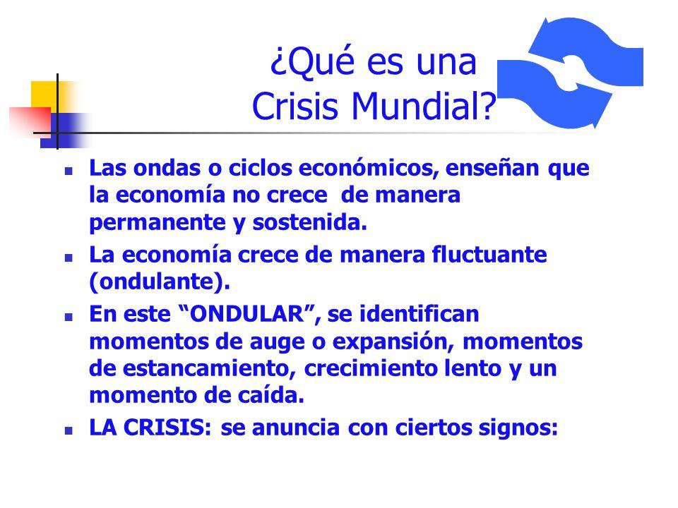¿Qué es una Crisis Mundial? Las ondas o ciclos económicos, enseñan que la economía no crece de manera permanente y sostenida. La economía crece de man
