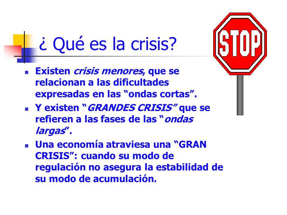 ¿ Qué es la crisis? Existen crisis menores, que se relacionan a las dificultades expresadas en las ondas cortas. Y existen GRANDES CRISIS que se refie