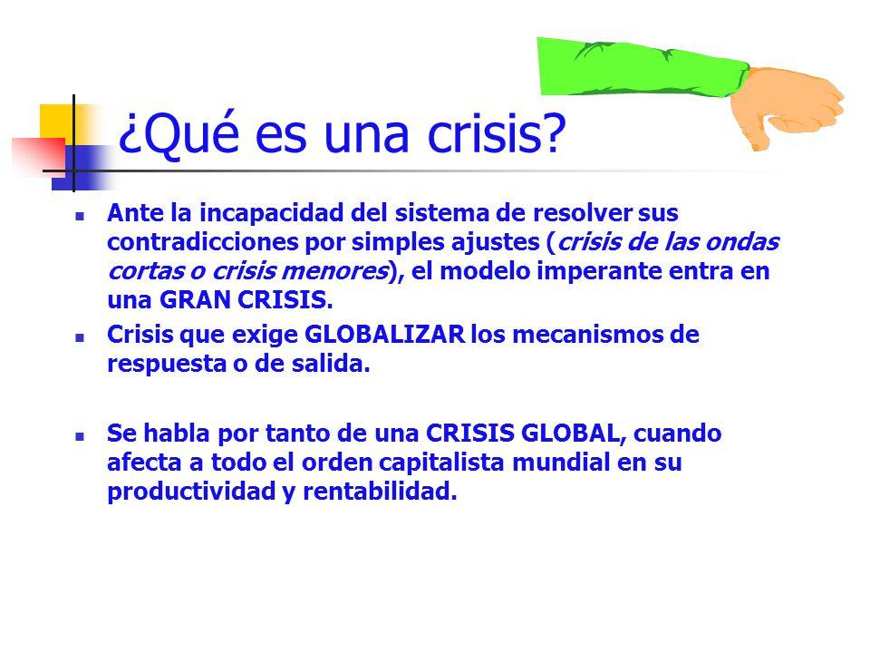 ¿Qué es una crisis? Ante la incapacidad del sistema de resolver sus contradicciones por simples ajustes (crisis de las ondas cortas o crisis menores),
