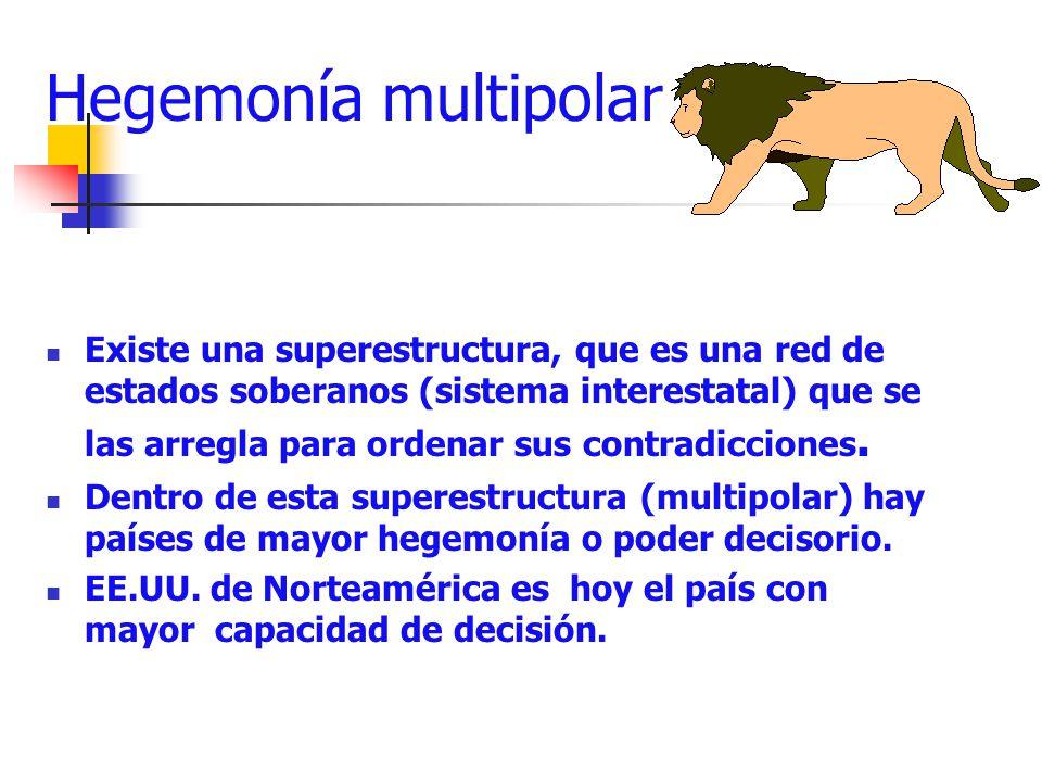 Hegemonía multipolar Existe una superestructura, que es una red de estados soberanos (sistema interestatal) que se las arregla para ordenar sus contra