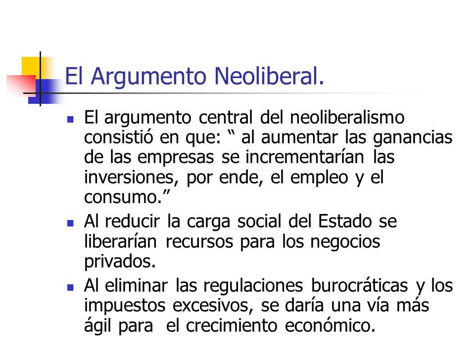 El Argumento Neoliberal. El argumento central del neoliberalismo consistió en que: al aumentar las ganancias de las empresas se incrementarían las inv