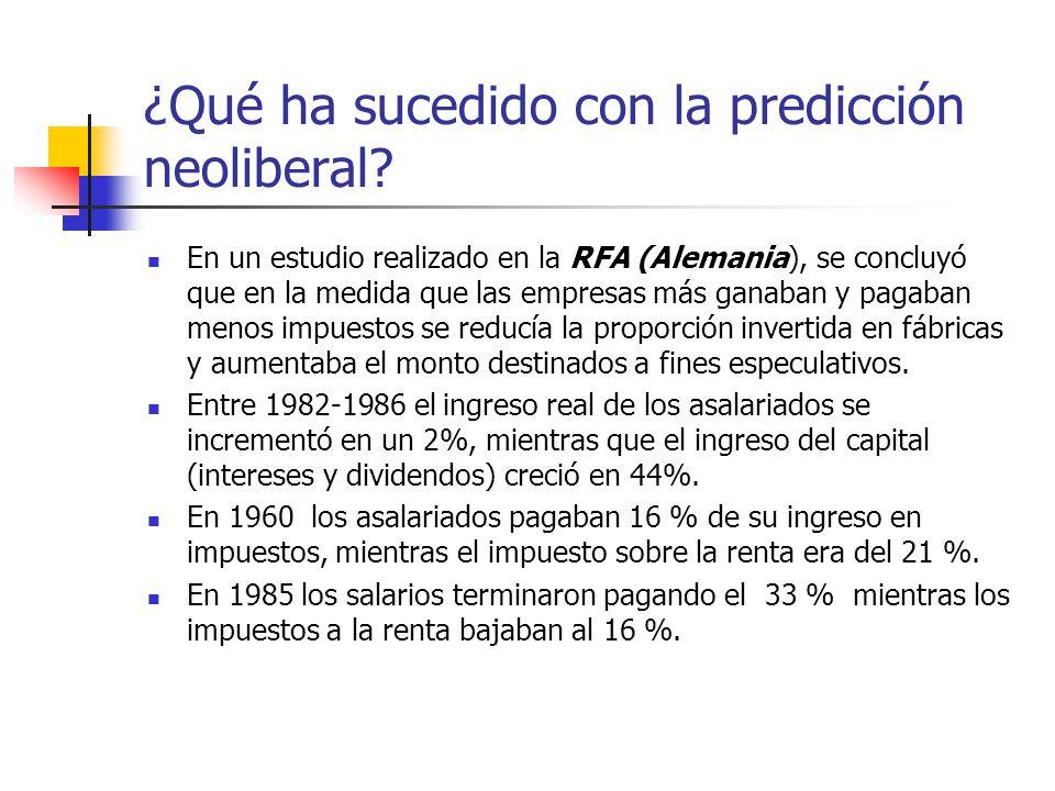 ¿Qué ha sucedido con la predicción neoliberal? En un estudio realizado en la RFA (Alemania), se concluyó que en la medida que las empresas más ganaban