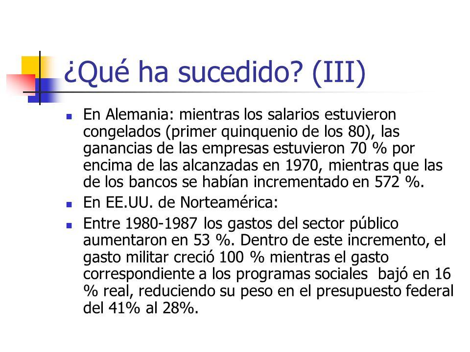 ¿Qué ha sucedido? (III) En Alemania: mientras los salarios estuvieron congelados (primer quinquenio de los 80), las ganancias de las empresas estuvier