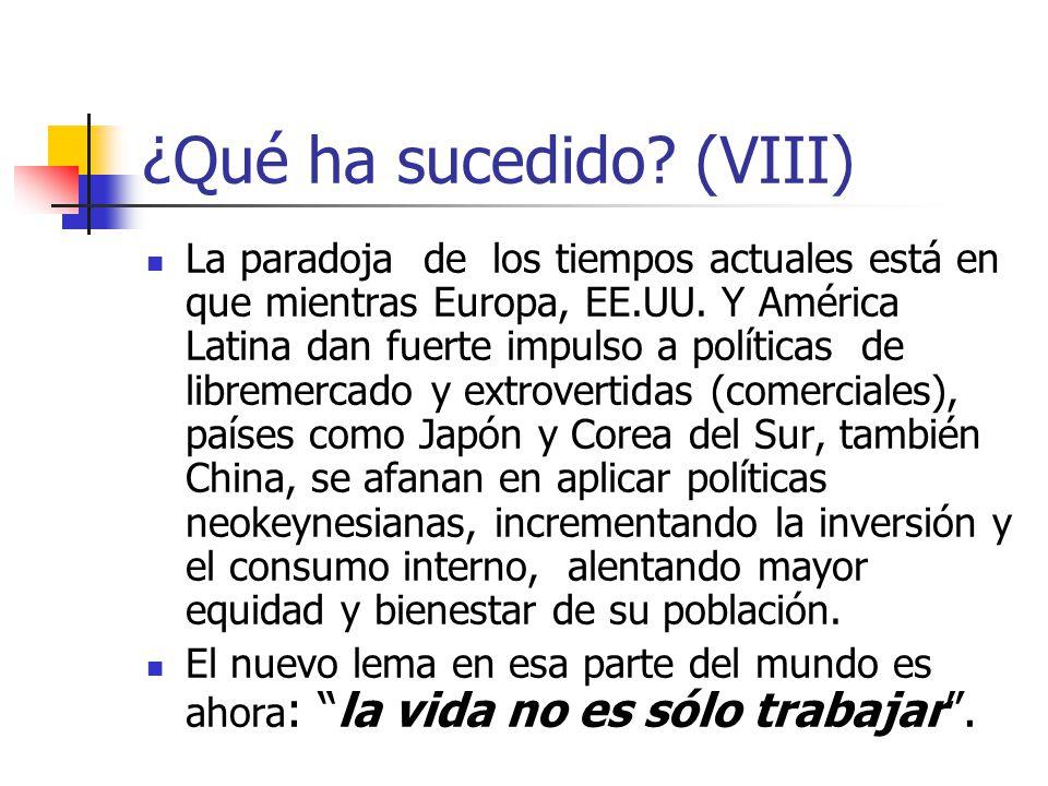 ¿Qué ha sucedido? (VIII) La paradoja de los tiempos actuales está en que mientras Europa, EE.UU. Y América Latina dan fuerte impulso a políticas de li