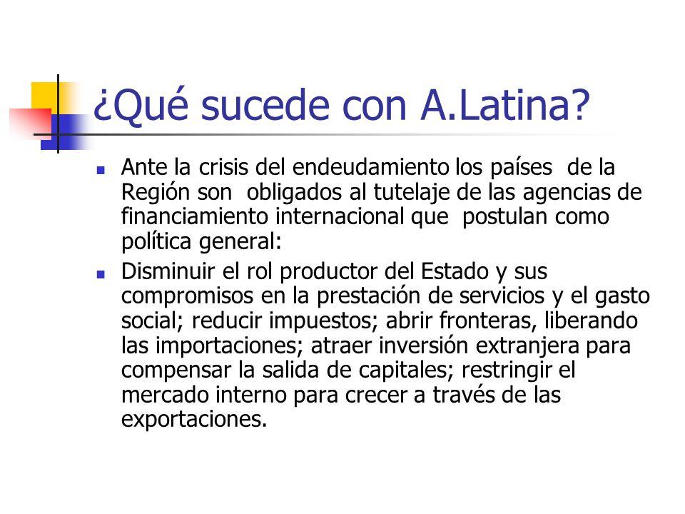 ¿Qué sucede con A.Latina? Ante la crisis del endeudamiento los países de la Región son obligados al tutelaje de las agencias de financiamiento interna