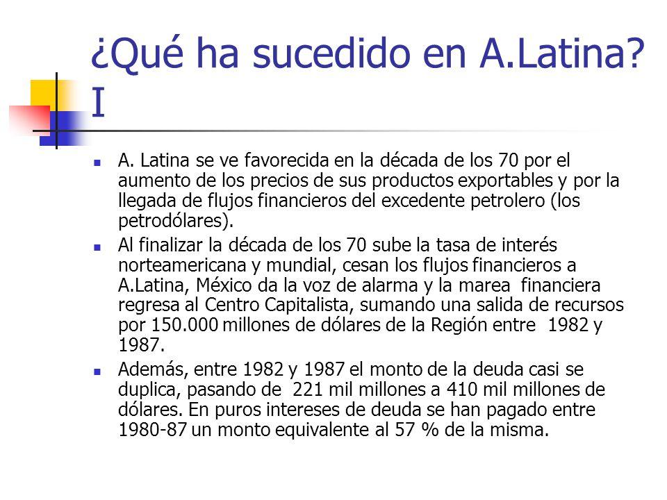 ¿Qué ha sucedido en A.Latina? I A. Latina se ve favorecida en la década de los 70 por el aumento de los precios de sus productos exportables y por la