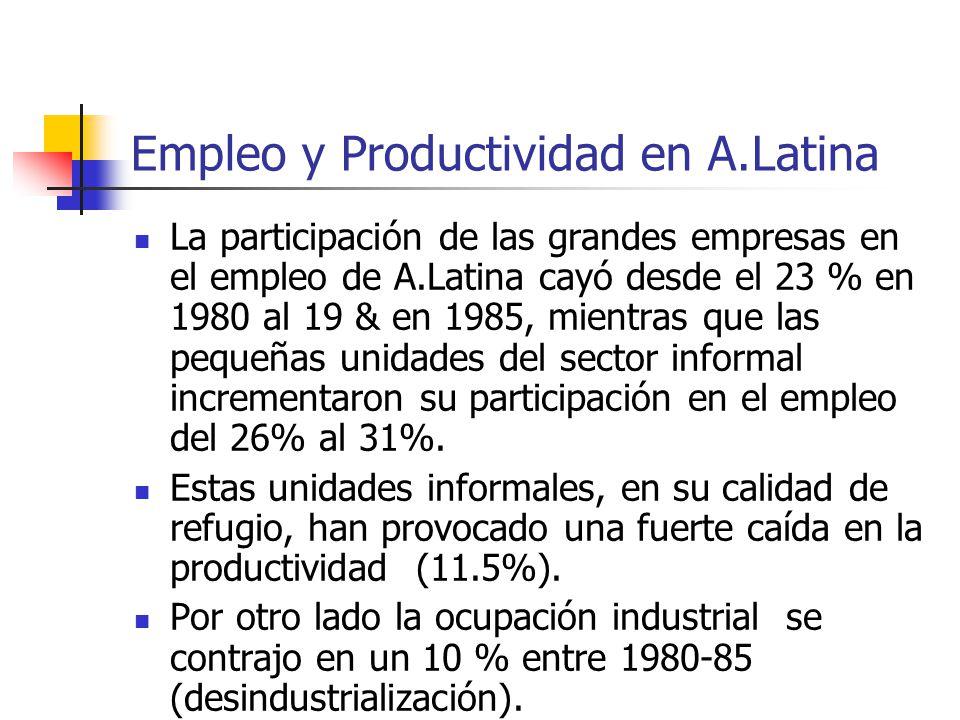 Empleo y Productividad en A.Latina La participación de las grandes empresas en el empleo de A.Latina cayó desde el 23 % en 1980 al 19 & en 1985, mient