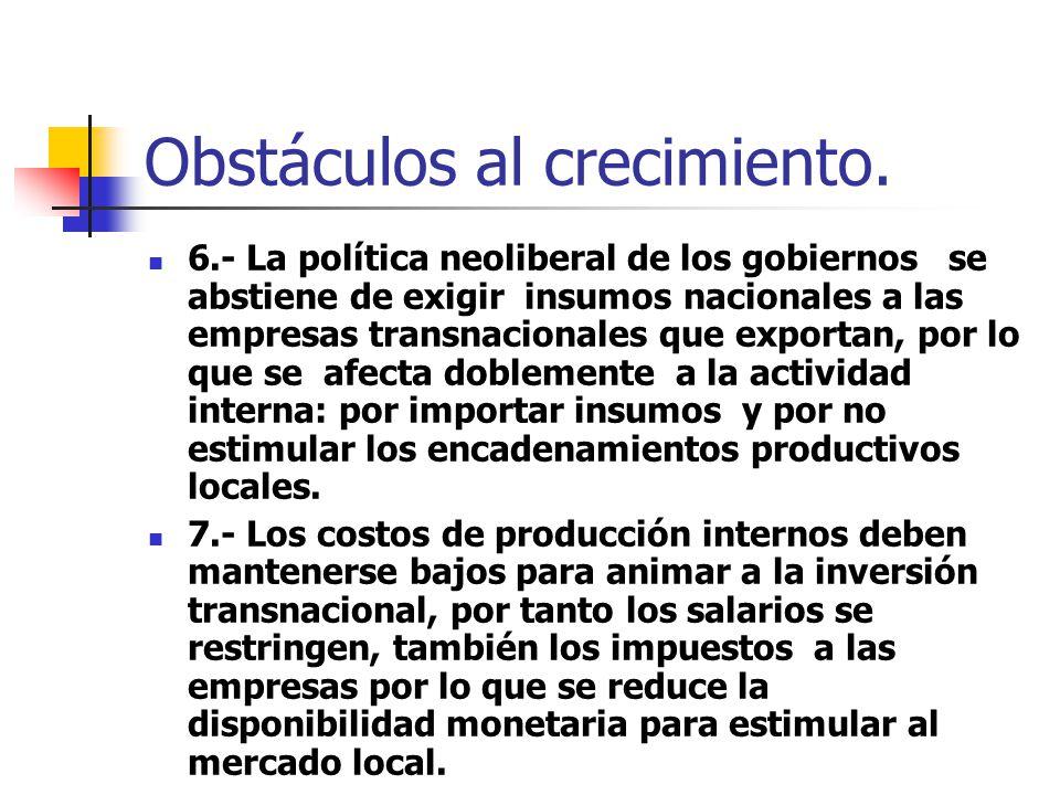 Obstáculos al crecimiento. 6.- La política neoliberal de los gobiernos se abstiene de exigir insumos nacionales a las empresas transnacionales que exp