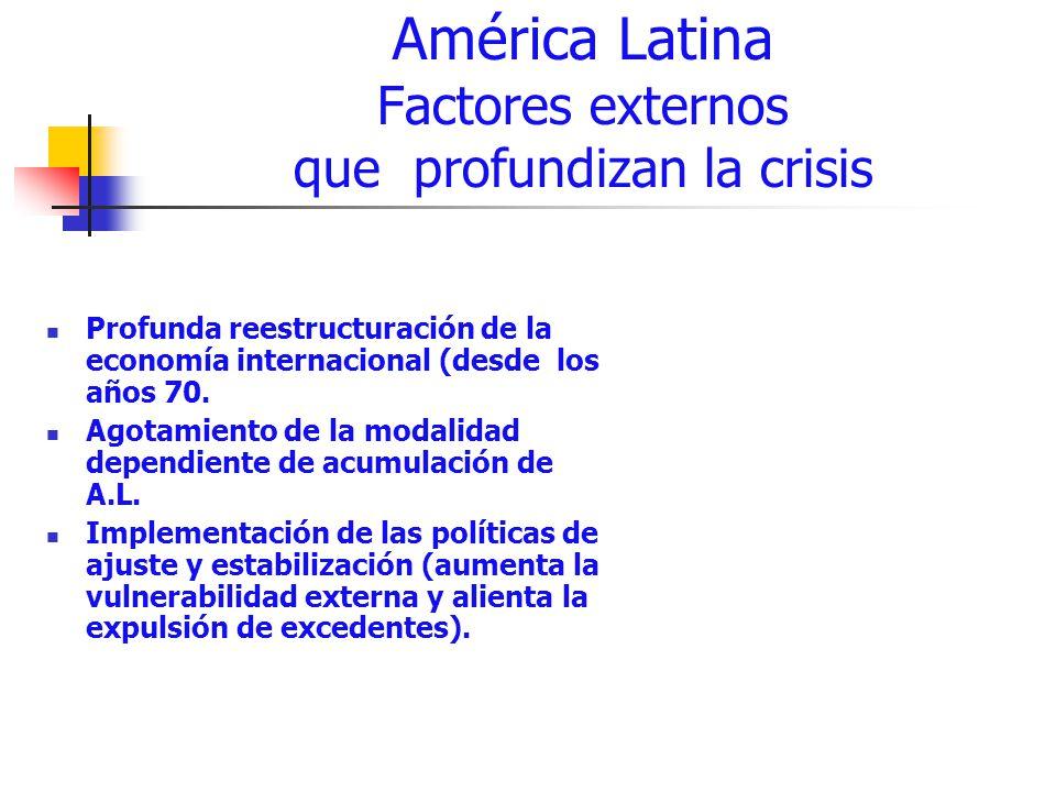 América Latina Factores externos que profundizan la crisis Profunda reestructuración de la economía internacional (desde los años 70. Agotamiento de l