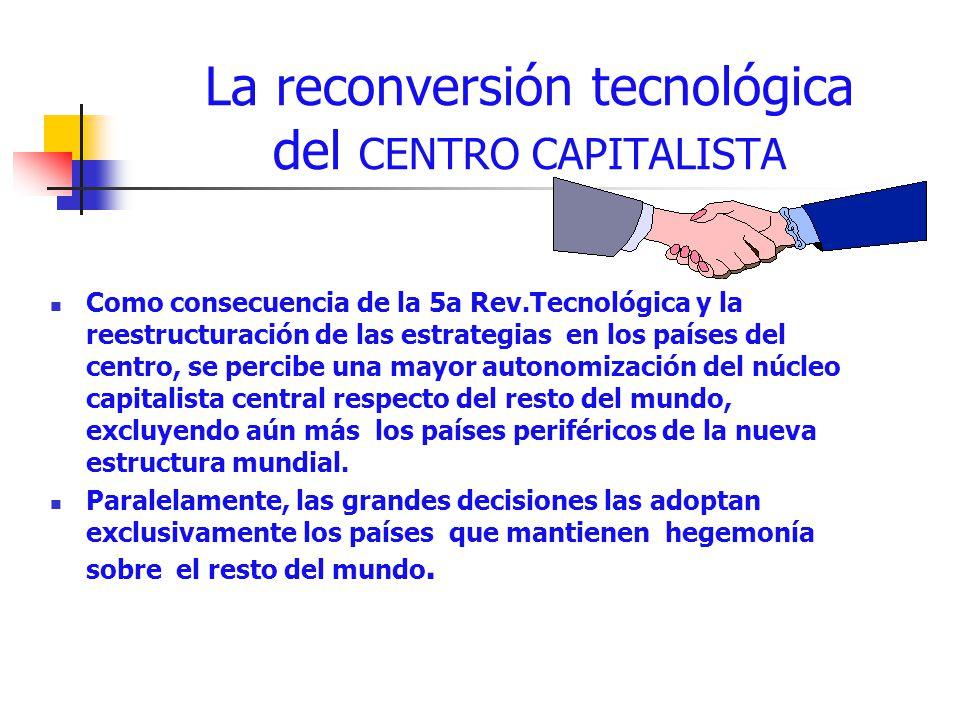 La reconversión tecnológica del CENTRO CAPITALISTA Como consecuencia de la 5a Rev.Tecnológica y la reestructuración de las estrategias en los países d