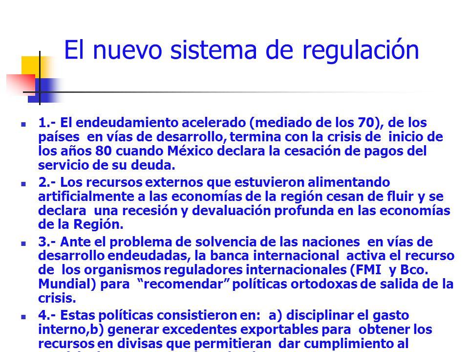 El nuevo sistema de regulación 1.- El endeudamiento acelerado (mediado de los 70), de los países en vías de desarrollo, termina con la crisis de inici