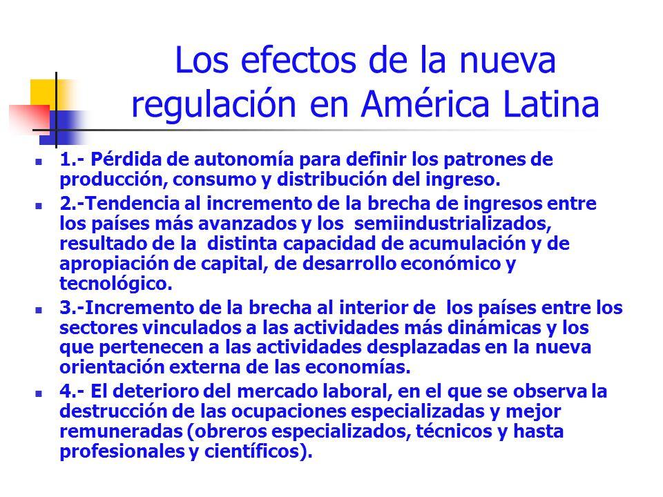 Los efectos de la nueva regulación en América Latina 1.- Pérdida de autonomía para definir los patrones de producción, consumo y distribución del ingr