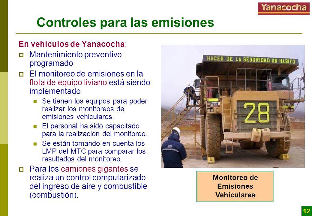 12 Controles para las emisiones En vehículos de Yanacocha: Mantenimiento preventivo programado El monitoreo de emisiones en la flota de equipo liviano está siendo implementado Se tienen los equipos para poder realizar los monitoreos de emisiones vehiculares.