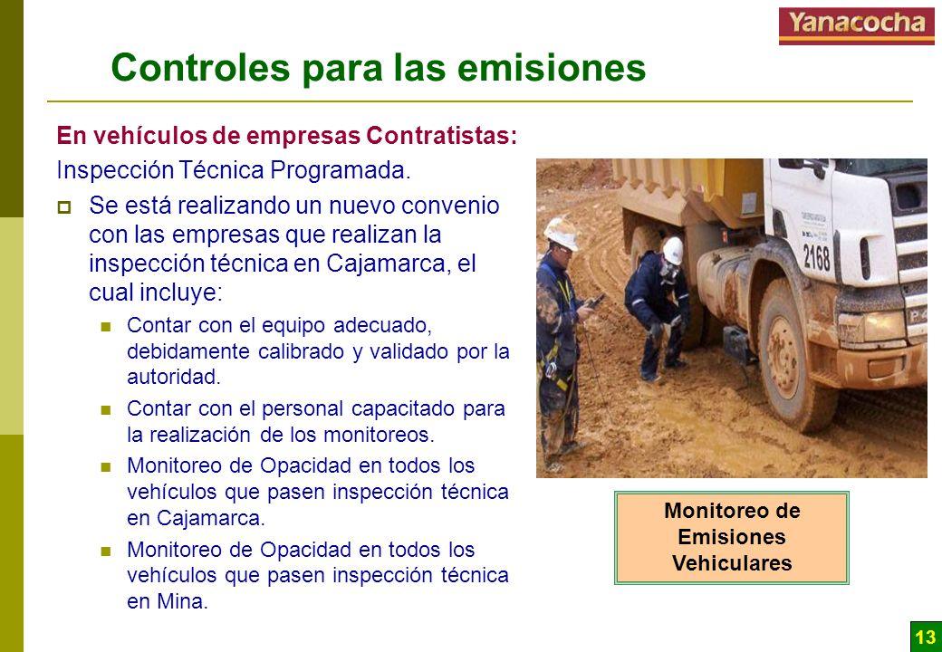 13 Controles para las emisiones En vehículos de empresas Contratistas: Inspección Técnica Programada. Se está realizando un nuevo convenio con las emp