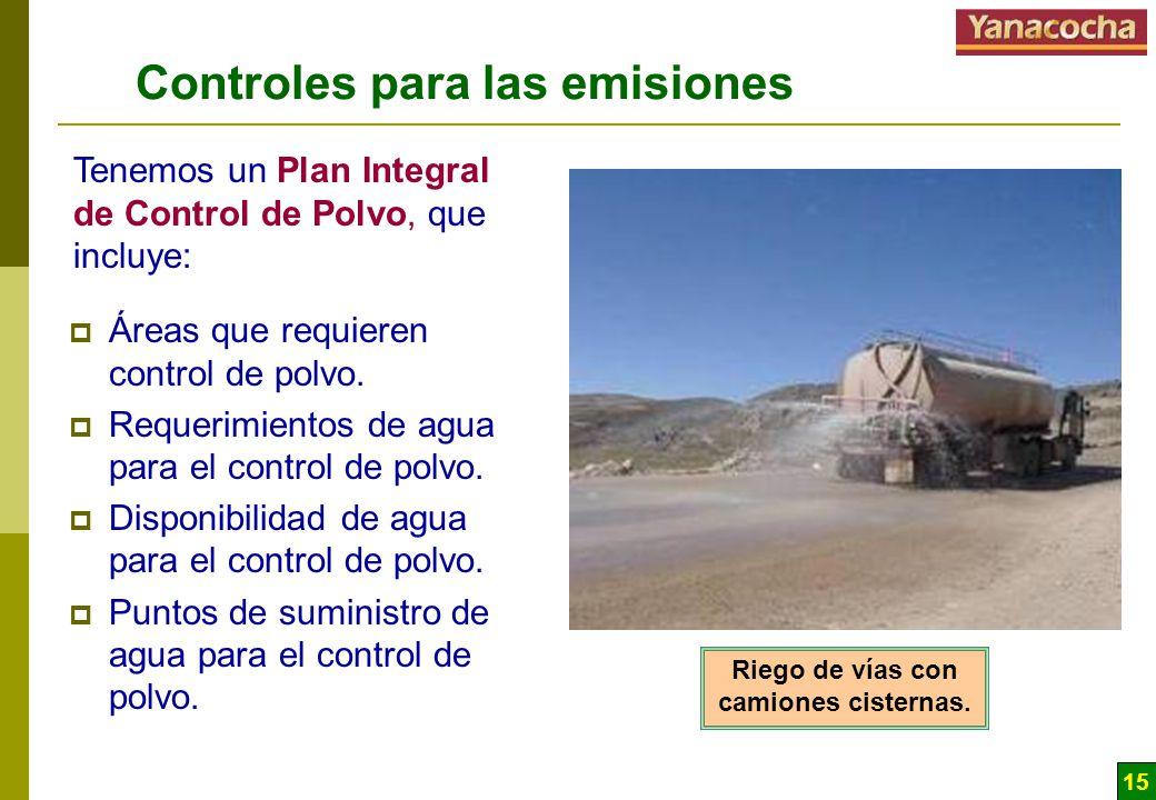 15 Controles para las emisiones Áreas que requieren control de polvo. Requerimientos de agua para el control de polvo. Disponibilidad de agua para el